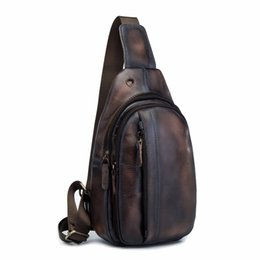 Leather Sling Packs Australia - Top Quality Men Leather Casual Fashion Travel Chest Pack Sling Bag Design Triangle One Shoulder Cross body Bag Daypack XB010db