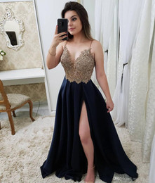 robe mariee vintage Australia - Sexy Elegant Spaghetti Straps Prom Dresses Lace Applique Beaded Top Split Chiffon Long Formal Party Evening Gowns Custom Robe De Mariee