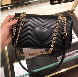 Venta al por mayor de Llegaron 2019 mujeres Marmont bolsos de hombro de las mujeres de lujo cadena de oro bolso crossbody bolsos diseñador de alta calidad bolso femenino mensaje 27 cm