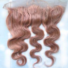 $enCountryForm.capitalKeyWord Australia - Wholesale Price Brazilian Virgin Hair Frontal 13x4 Unprocessed 100% Human Hair Bundles with Lace Closure Color Pink# Body Wave