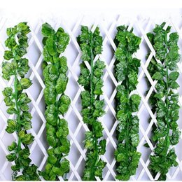 $enCountryForm.capitalKeyWord Australia - leaves 12Pcs 200cm Artificial Flower grape Rattan fake silk flores Green radish Vine for Home Wedding decoration cheap Leaves leaf