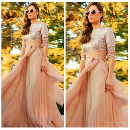 $enCountryForm.capitalKeyWord NZ - Bling Bling Rose Gold Top Long Sleeves Prom Dresses Chiffon 2019 Modest Muslim Long Vestidos De Evening Party Gowns Floor Length Cheap