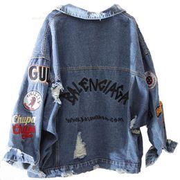 QNPQYX Harajuk Loose Denim streetwear Jacket Women Embroidery Jeans Coat Hip Hop Hole Single Breasted Jeans Jacket 2019 Women Jacket C402 on Sale