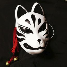 Painting Faces Australia - Japanese Fox Cosplay Mask Hand-Painted Full Face PVC Kitsune Black Demon Decorative Collection Christmas Gift Party Halloween