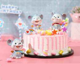 Discount dolls cakes - Cute Shaking Head Mouse Creative Car Doll Birthday Cake Topper Baking Decorations Home Table Decoration Mini Crafts