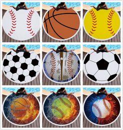 Ingrosso Baseball Softabll basket football Asciugamano sportivo da spiaggia con nappine Asciugamani da spiaggia rotondi per le donne Estate Asciugamani da bagno per prendere il sole coperta