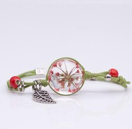 $enCountryForm.capitalKeyWord Australia - China Jingdezhen Ceramics Dried Flower Bracelet Retro Glass Hand Knitting Rope Chain Bangle Leaf Pendant Craft Charm Jewelry
