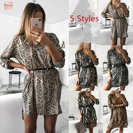 Kimono sexy long white online shopping - Women Autumn Snake Dress Sexy Leopard Print Striped Long Sleeve V Neck Casual Empire Mini Dresses Above Knee Length