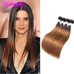 hair extension wefts cheap NZ - Peruvian Human Hair Ombre 1B 30 Virgin Hair Cheap Remy Straight T1B 30 Hair Extensions 4 PCS Double Wefts
