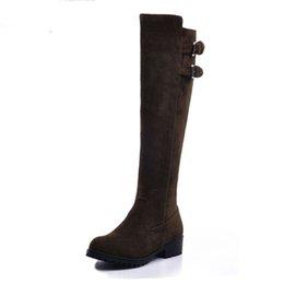 Большой размер 34-43 мода сапоги для верховой езды женщина платформа Женская обувь женщина сапоги горячие продажа колено высокие сапоги Женская обувь