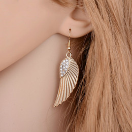 India Alloys Australia - Fashion Plated Gold Earrings For Women Pending Rhinestone Alloy Wings Drop Earrings Female Brincos From India E590