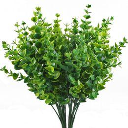 Arbusti artificiali Finta plastica vegetale Piante Foglie di eucalipto Cespugli Fiori Filler Interni Esterni Home Garden Office Verandah Decor