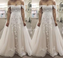 Castle models online shopping - Gorgeous Lace Wedding Dresses Off Shoulder Appliques A Line Sweep Train Chic Church Castle Bridal Gowns Modern Chapel Vestidoe De Noiva