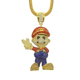 Mario Pendants Australia - Mario Crystal Rhinestone Pendant Designer Necklace Chains Cartoon Game Necklace Hip Hop Jewelry Bling Gold Plated Iced Out Pendant