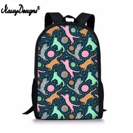 $enCountryForm.capitalKeyWord Australia - Color Funny Cats in space Pet Animals Prints Children School Bags Women Backpack for Teenage Boys Girls Kids Pencil Custom Bags