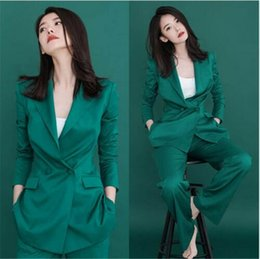 Female Office Suits Australia - Green Professional Pantsuits With Jackets And Pants Office Uniform Ladies Business Women Pant Suits Female Trousers Custom Made