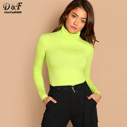 $enCountryForm.capitalKeyWord NZ - Dotfashion Green Turtleneck Slim Fitted Neon T-shirt Women Long Sleeve Autumn Tops Womens Clothing Casual Tee Shirt Q190507