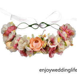 Wholesale Country Flower Bridal Floral Crown Cute Hair Band Wreath Mint Head Wreath Wedding Headpiece Bridesmaid Women Hair Accessories CPA1893