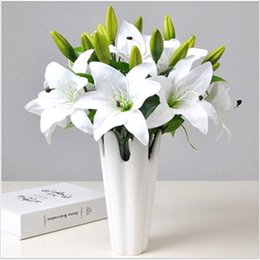 $enCountryForm.capitalKeyWord NZ - Wedding Decoration Artificial lily Fake PU Flower for Bedding Room High Quality Festival Party Supplies Decorative Flower Bouquet H175