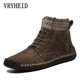 warm casual boots Australia - VRYHEID autumn winter Casual Shoes Men Genuine Leather handmade vintage High Tops Male boots Warm sneakers hombres plus sizes 48