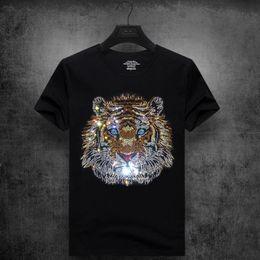 Drill T Shirt Australia - mens designer t shirts t shirt clothes tide brand tiger head hot drilling T-shirt short-sleeved men's round neck half sleeve social