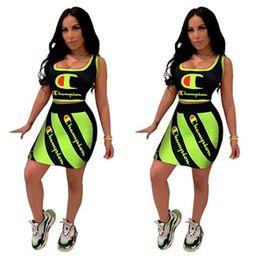 $enCountryForm.capitalKeyWord Australia - 2 Piece Woman Set Top and Skirt Champion Crop Tank Vest + Diagonal Stripe Mini Dresses Reflective Designer Tracksuits Bodycon Outfits C61905