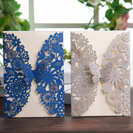 Discount invitation cards for birthdays flower - Wishmade 50pcs Glitter Laser Cut Wedding Invitations Cards with Silver Royal Blue Butterfly Lace Flower Design for Birth