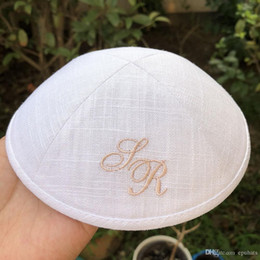 Orange Embroidered Fabrics Australia - Customize kippah kippot yarmulke ,White color kipot kippa,skullcap,dome for wedding bar-mitzvah Linen fabric with embriodery logo 100pcs lot