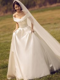 $enCountryForm.capitalKeyWord NZ - Cheap Simple Satin Wedding dresses Off Shoulder A Line Cathedral Train Lace Up Charming Garden Long Wedding Dress Bridal Gowns Plus Size