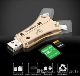 Ipad Readers Australia - 4 in 1 i-FlashDevice HD USB Micro SD&TF Card Reader Adapter for IPhone 5 6 7 8 for IPad Macbook Android Camera Black White GOLD