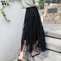 $enCountryForm.capitalKeyWord Australia - Womail Tulle Skirts Female Midi Pleated Skirt Black Pink Tulle Skirt 2019 Summer Korean Elastic High Waist Mesh Tutu M523