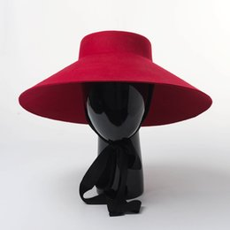 Reds Hat NZ - Women Fall Winter 2018 New Style Shallow top Big Wide Brim Wool Felt Fedoras Hat Large Black Red Wool Hat With Bandage Warm