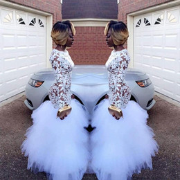 Wholesale t shirt for girls long size for sale – custom 2019 African White Mermaid Lace Prom Dresses for Black Girls Long Sleeves Ruffles Tulle Floor Length Plus Size Evening Prom Gowns