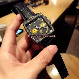 mens square luxury watch NZ - Luxury version Monaco Bamford CAW211P.FC6356 Carbon Fibre Case Yellow Dial 7750 Mechanical Mens Watch Sapphire Leather Strap Sport Watches