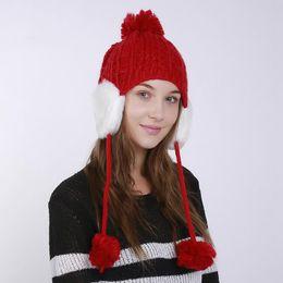 23da8b33 Women's Winter Bomber Hats Warm Knitted Cap Hanging Ball Weaving Wool  Fashion Thicken Hat Fashion Festival Christmas