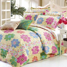 $enCountryForm.capitalKeyWord UK - 3Pcs 100%Cotton Quilted Queen size Bedspread with Pillow shams Floral printed Colorful Coverlet Bed cover set Soft Bedspread