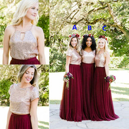 Cheap Rose Red Bridesmaid Dresses Australia - Two Tone Rose Gold Burgundy Country Bridesmaid Dresses 2019 Custom Make Long Junior Maid of Honor Wedding Party Guest Dress Cheap Plus size