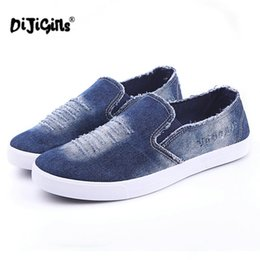 Опт DIJIGIRLS новый летний Мужская обувь дышащий скольжения на вырез джинсовые повседневная холст обувь плоские каблуки размер 39-44