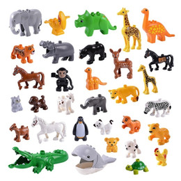 $enCountryForm.capitalKeyWord Australia - Legoing Big Building Blocks Zoo Animal Model Deer Panda Elephant Penguin Diy Dinosaur Figures Toys For Kids Compatible Duploed