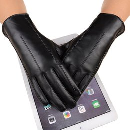 Genuine Leather Gloves Wholesale Australia - High Quality Elegant Women Genuine Lambskin Leather Gloves Autumn And Winter Thermal Hot Trendy Female Glove