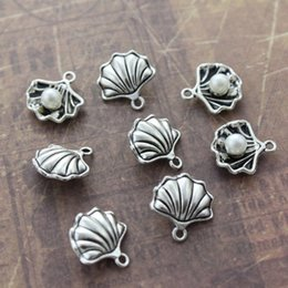 Conch Pearl Charm Australia - 10 20pcs DIY Antique Silver Pearl in Shell Conch Charms Pendants Nautical Jewelry Making Dangle 15*15mm