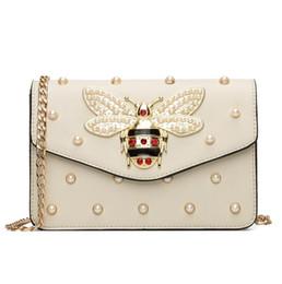 Pearl Ladies Handbag NZ - Factory wholesale brand women handbag sweet lady pearl chain bag exquisite diamond hand bag personality bees lock shoulder bag