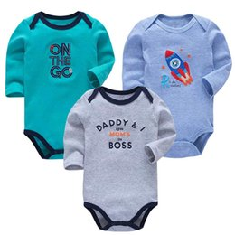 $enCountryForm.capitalKeyWord UK - 3 Pieces lot 100% Cotton Baby Bodysuit Newborn Cotton Body Baby Long Sleeve Underwear Infant Boys Girls Clothes Baby's Sets J190713