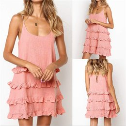 $enCountryForm.capitalKeyWord NZ - Women Summer Dress Spaghetti Strap Ruffle Cool Dresses Designer U-Neck Sexy Women Nightgown Fashion Female Clothes