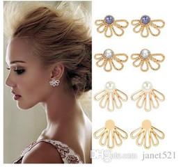 Jackets Studs Australia - Ear Jacket U Shape Earrings Back Cuffs Jacket Earrings Pearl Simple Chic Stud Earrings Set for Women Girls