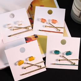 $enCountryForm.capitalKeyWord Australia - Womens New 3pcs set Transparent Geometric Irregular Earrings Metal Barrette Hairpin Hair Grip Hair Clip Hair Accessories