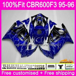 $enCountryForm.capitalKeyWord Australia - 100%Fit Injection For HONDA CBR600RR CBR 600F3 CBR 600 F3 95 96 77HM.6 CBR600FS CBR600 F3 FS CBR600F3 1995 1996 Top Blue flames OEM Fairing