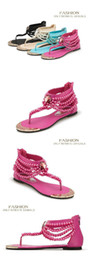 Hot Pink Flip Flops Australia - Hot Sale-New Pearl Chain Beads Rhinestone Wedge Sandals Yellow Flat Heel Flip Flop Flops Fashion Sexy Summer Sandal Women Sandals Shoes