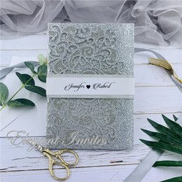$enCountryForm.capitalKeyWord Australia - The Modern Touch Glitter Silver Laser Cut Pocket Fold With Floral And Geometric Invitation with envelop free shipping