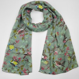 cotton viscose scarves Australia - 2020 Women Viscose Scarf Lovely Animal Bird On Tree Pattern Shawl Print Voile Wrap Newborn Scarves Autumn Winter Hijab Sjaal